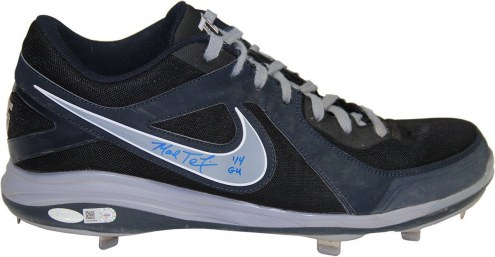 New York Yankees Mark Teixeira Signed 2014 Game Used Navy Blue and Grey Metal Cleat