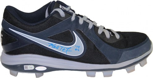 New York Yankees Mark Teixeira Signed 2014 Game Used Navy Blue and Grey Rubber Cleat