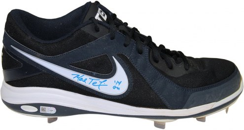 New York Yankees Mark Teixeira Signed 2014 Game Used Navy Blue and White Metal Cleat
