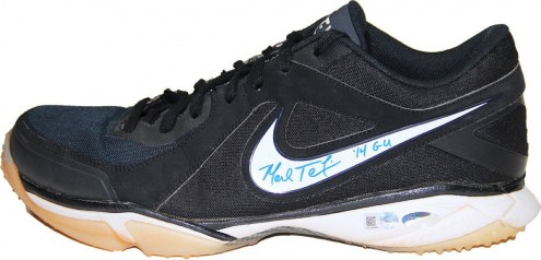 New York Yankees Mark Teixeira Signed 2014 Game Used Navy Blue Black and White Turf Shoe