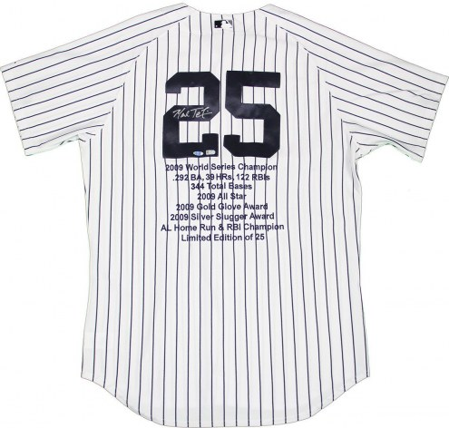 New York Yankees Mark Teixeira Signed Authentic Home Pinstripe Jersey w/ Embroidered Stats