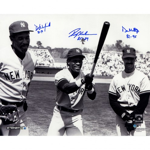 "New York Yankees Mattingly, Henderson, Winfield Standing In The Outfield w/ Years Played Signed 16"" x 20"" Photo"