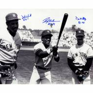 """New York Yankees Mattingly, Henderson, Winfield Standing In The Outfield w/ Years Played Signed 16"""" x 20"""" Photo"""
