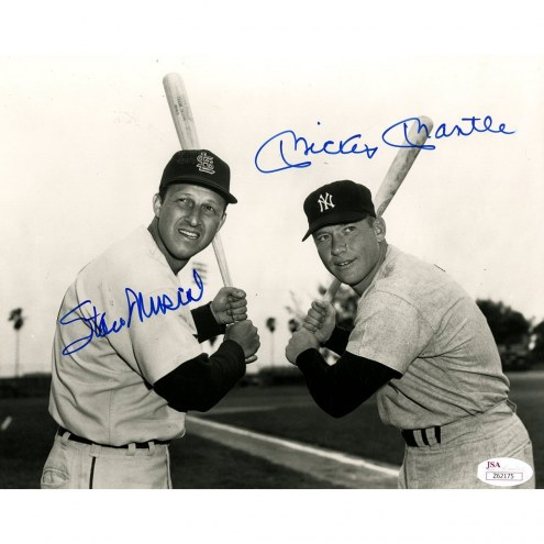 New York Yankees Mickey Mantle and Stan Musial Dual Signed 8 x 10 Photo Holding Bats