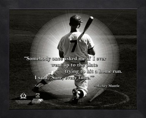 New York Yankees Mickey Mantle Home Run Framed Pro Quote