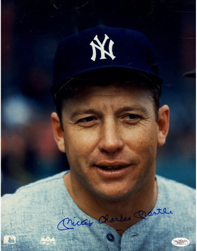 New York Yankees Mickey Mantle Signed 11 x 14 Photo w/ Mickey Charles Mantle