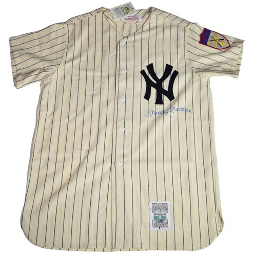 New York Yankees Mickey Mantle Signed 1951 Mitchell & Ness Home Jersey