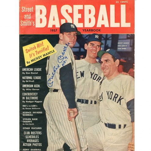 New York Yankees Mickey Mantle Signed 1957 Street and Smiths Baseball Yearbook Magazine