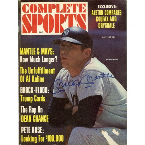 New York Yankees Mickey Mantle Signed 1968 Complete Sports Magazine