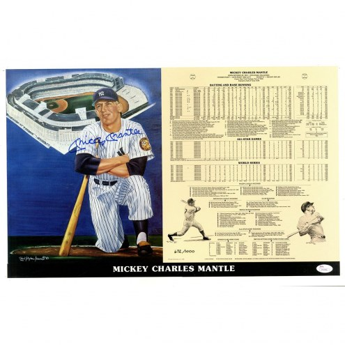 New York Yankees Mickey Mantle Signed Limited Edition/1000 Robert Stephen Simon 14 x 21 Print