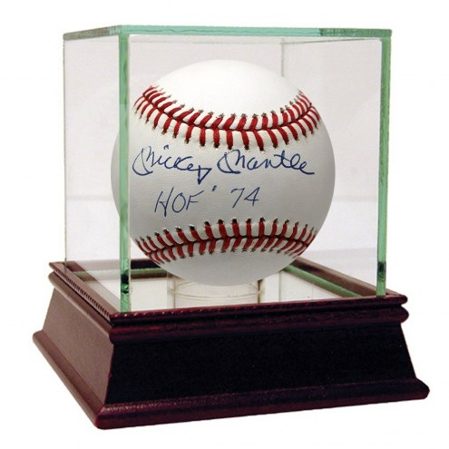 New York Yankees Mickey Mantle Signed OAL Brown Baseball HOF 74