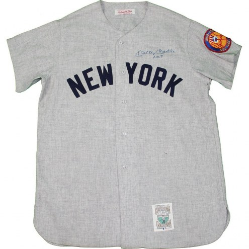 New York Yankees Mickey Mantle Signed Road Gray Jersey w/ No. 7