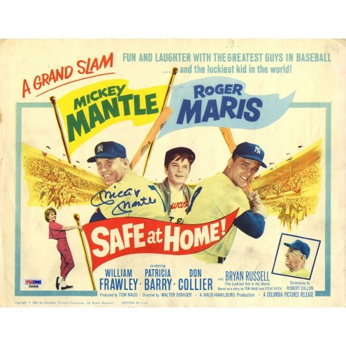 New York Yankees Mickey Mantle Signed Safe at Home 11 x 14 Movie Poster