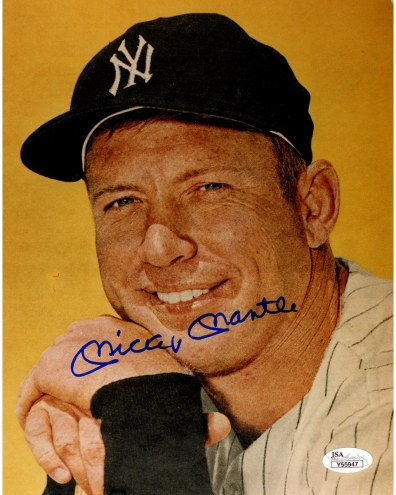New York Yankees Mickey Mantle Signed Up Close w/ Yellow Background 8 x 10 Photo