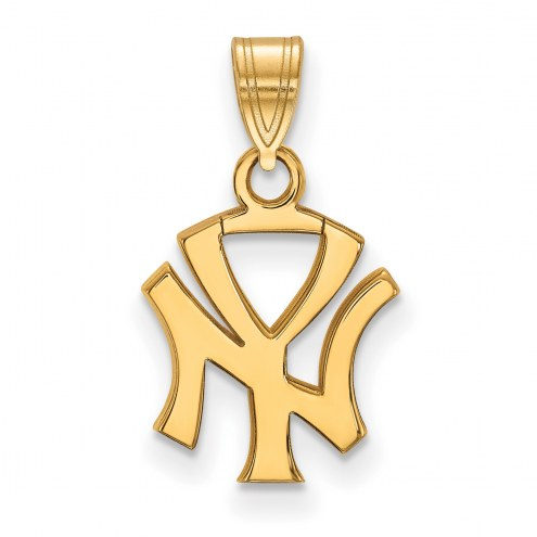 New York Yankees Sterling Silver Gold Plated Small Pendant