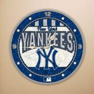 New York Yankees MLB Stained Glass Wall Clock