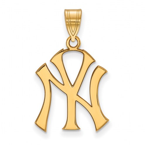 New York Yankees MLB Sterling Silver Gold Plated Large Pendant