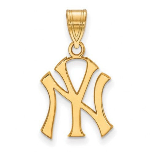 New York Yankees MLB Sterling Silver Gold Plated Medium Pendant