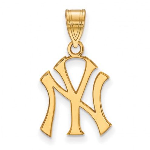 New York Yankees MLB Sterling Silver Gold Plated Medium Pendant