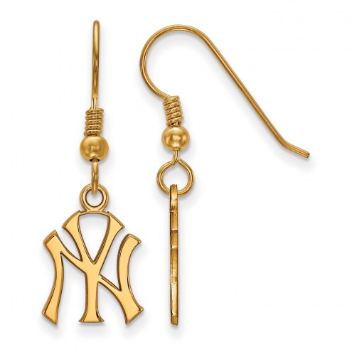 New York Yankees MLB Sterling Silver Gold Plated Small Dangle Earrings
