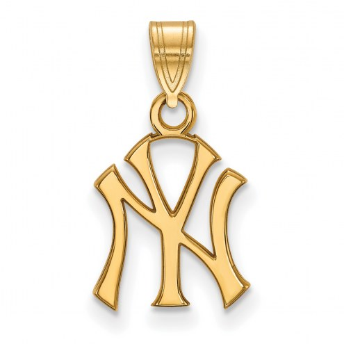 New York Yankees MLB Sterling Silver Gold Plated Small Pendant