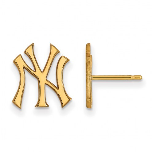 New York Yankees MLB Sterling Silver Gold Plated Small Post Earrings