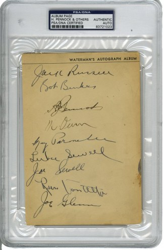 New York Yankees Multi Signed Album Page with 15 other Signatures
