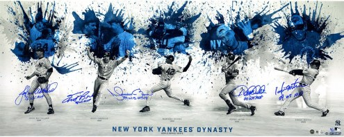 New York Yankees Multi Signed & Inscribed 96 98 99 00 09 World Series Championship Dynasty Collage 14 x 30 Photo