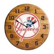 New York Yankees Oak Barrel Clock