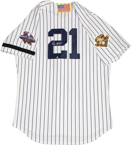 New York Yankees Paul ONeill Signed Authentic Pinstripe Jersey with 2001 WS Patch AL 100th Anniversary Patches