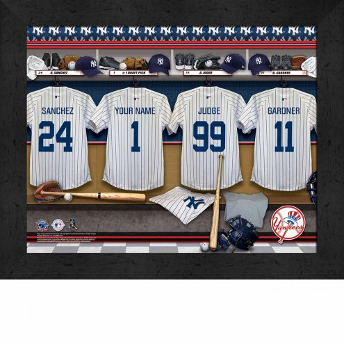 New York Yankees  Personalized Locker Room 11 x 14 Framed Photograph