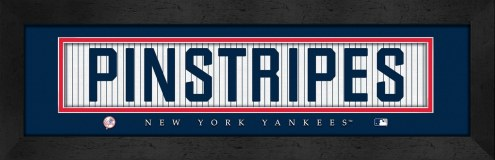 """New York Yankees """"Pinstripes"""" Stitched Jersey Framed Print"""