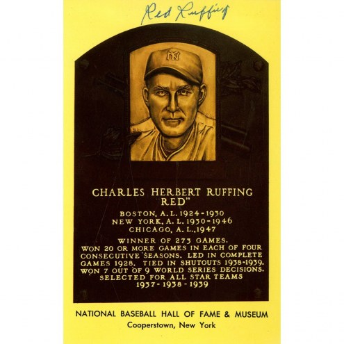 New York Yankees Red Ruffing Signed Hall of Fame Plaque Postcard