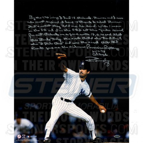 """New York Yankees Ron Guidry Pitching on Mound Story Signed 16"""" x 20"""" Photo"""