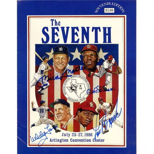 New York Yankees Mickey Mantle Whitey Ford Bob Gibson Lou Brock Signed 7th National Sports Collectors Convention Program July 1986