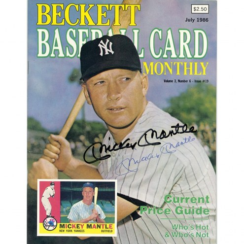 New York Yankees Mickey Mantle/Darryl Strawberry Signed Beckett Baseball Card Monthly Magazine July 1986 Issue