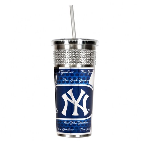 New York Yankees Silver Bling Tumbler with Straw