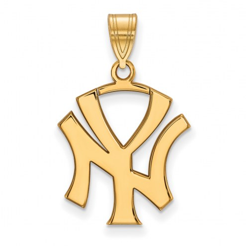 New York Yankees Sterling Silver Gold Plated Large Pendant