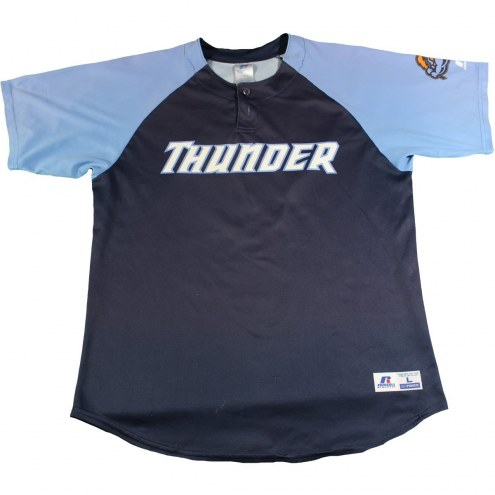New York Yankees Starlin Castro #14 Signed Game Used Trenton Thunder Home Blue Jersey