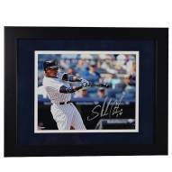 New York Yankees Starlin Castro Signed and Framed 'Hitting' 8 x 10 Photo