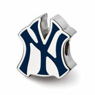 New York Yankees Sterling Silver Enameled Bead