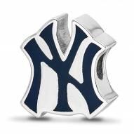New York Yankees Sterling Silver Enameled Bead