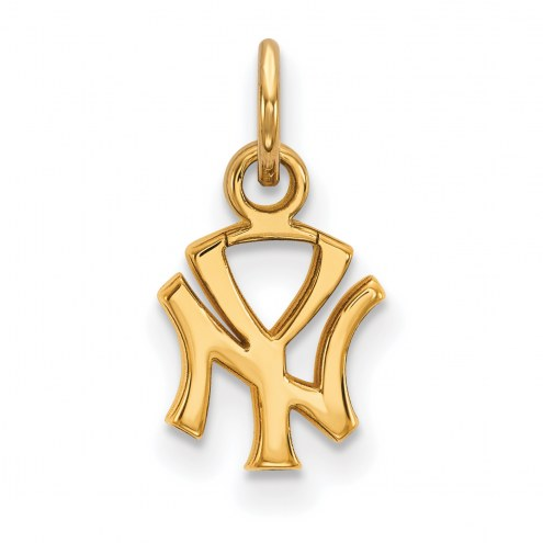 New York Yankees Sterling Silver Gold Plated Extra Small Pendant