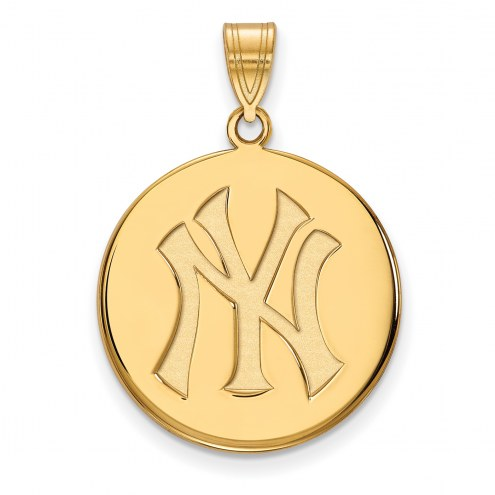 New York Yankees Sterling Silver Gold Plated Large Disc Pendant