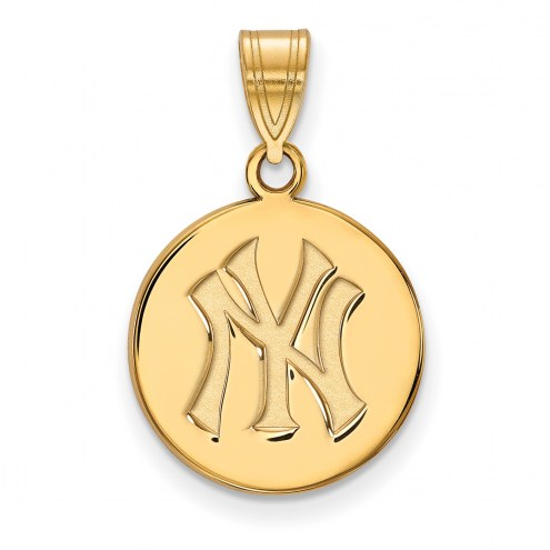 New York Yankees Sterling Silver Gold Plated Medium Disc Pendant