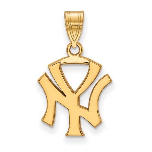 New York Yankees Sterling Silver Gold Plated Medium Pendant