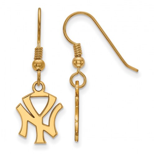 New York Yankees Sterling Silver Gold Plated Small Dangle Earrings