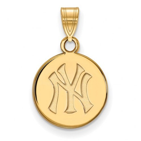 New York Yankees Sterling Silver Gold Plated Small Disc Pendant