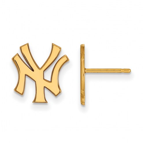 New York Yankees Sterling Silver Gold Plated Small Post Earrings