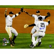 """New York Yankees Teixeira, Rodriguez, Jeter 2009 ALCS Win (Signed By Teixeira) Signed 16"""" x 20"""" Photo"""